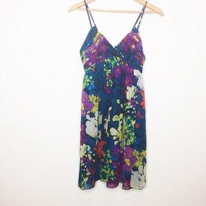 Donna Morgan floral silk watercolor dress size 6